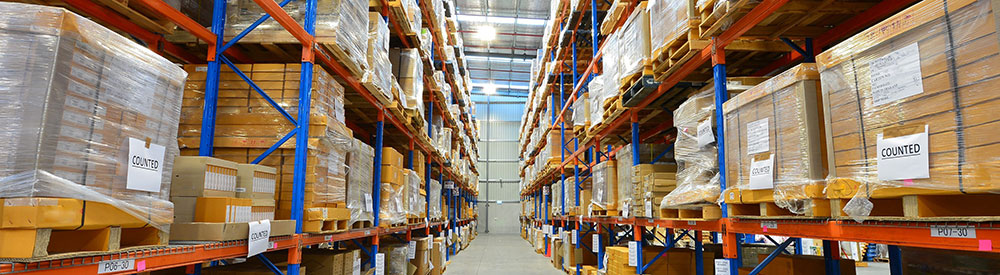 rows of shelves in warehouse