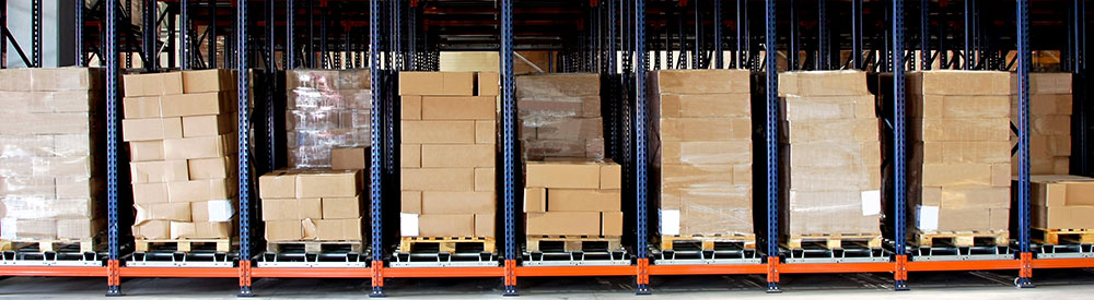 boxes on pallets in warehouse