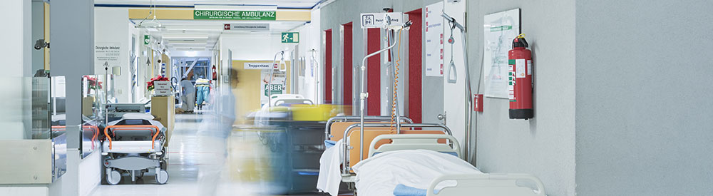 hospital beds in hallway