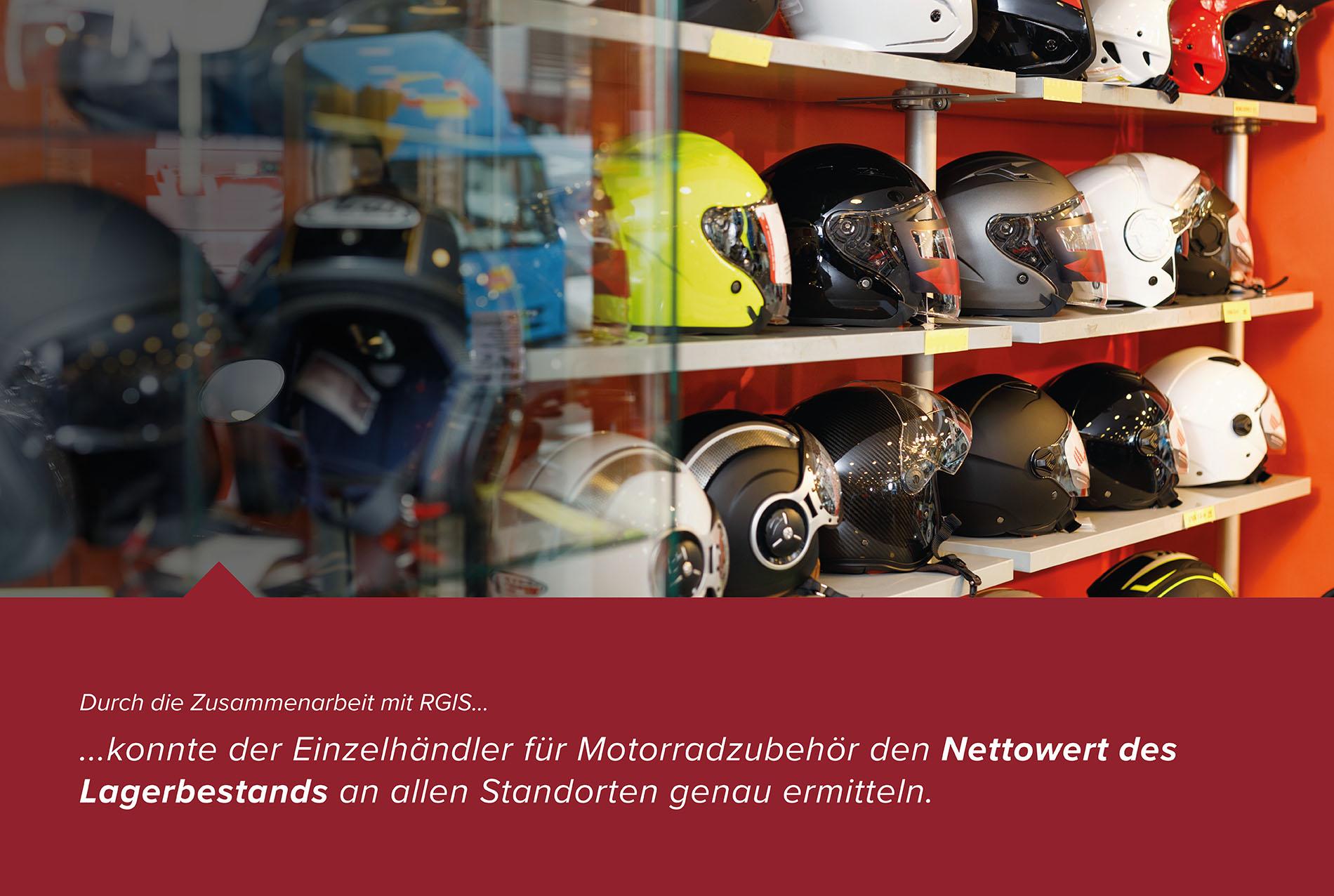 Motorrad-Ausrüstung Laden- und Lagerinventar