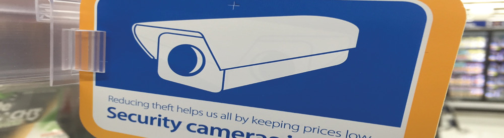 A sign for security cameras which were part of a Loss Prevention Audit