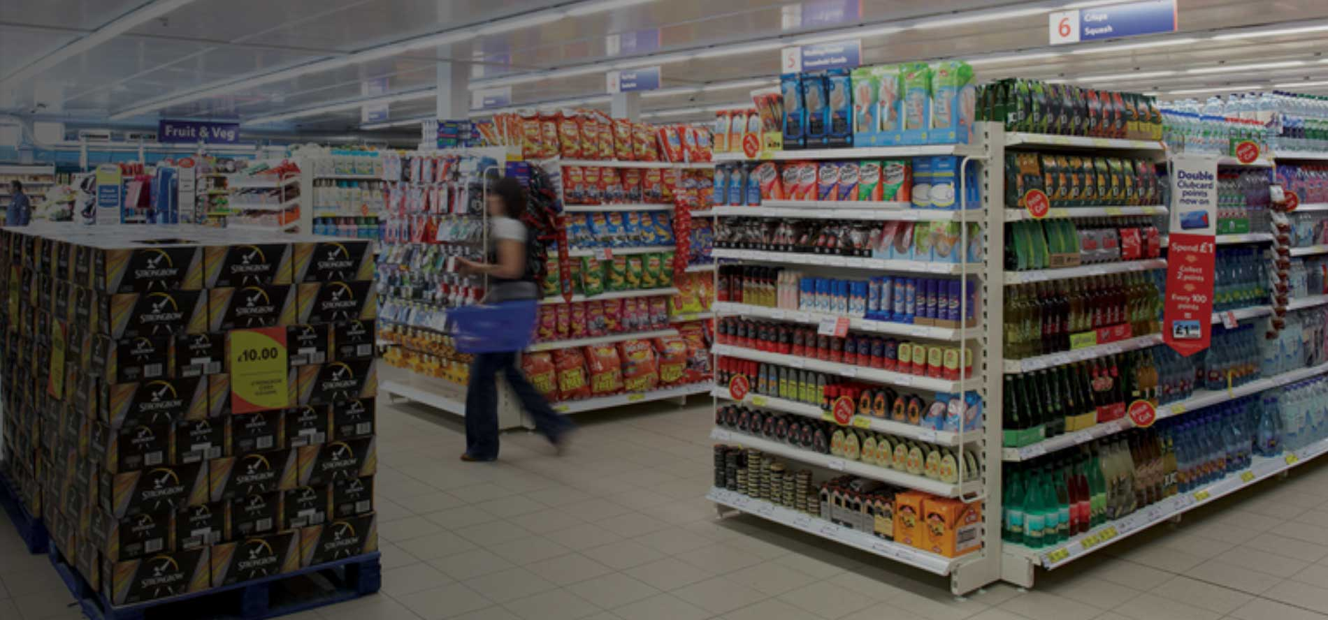 Shopper in a Tesco store which has had merchandising and replenishment services