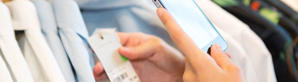 checking price on smartphone