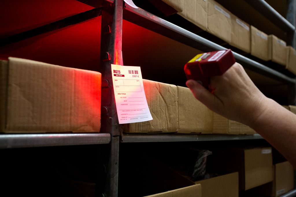 RGIS location ticket being scanned in a warehouse