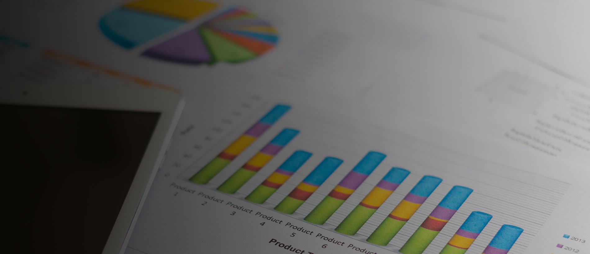 Product charts showing data analytics